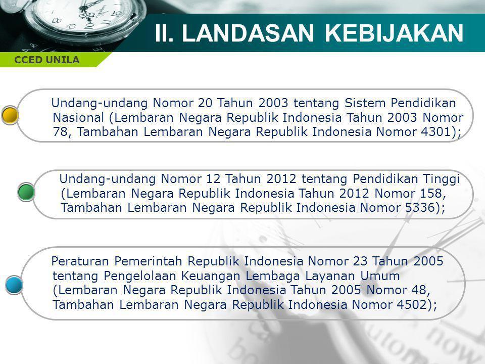 CCED UNILA II. LANDASAN KEBIJAKAN Undang-undang Nomor 20 Tahun 2003 tentang Sistem Pendidikan Nasional (Lembaran Negara Republik Indonesia Tahun 2003