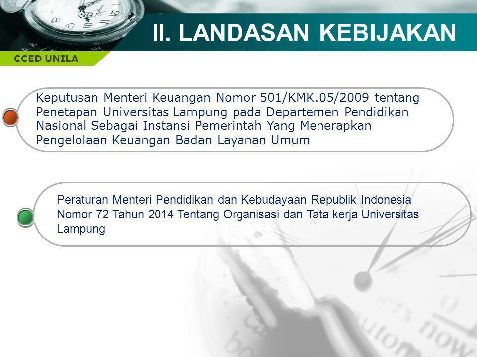 CCED UNILA II. LANDASAN KEBIJAKAN Keputusan Menteri Keuangan Nomor 501/KMK.05/2009 tentang Penetapan Universitas Lampung pada Departemen Pendidikan Na