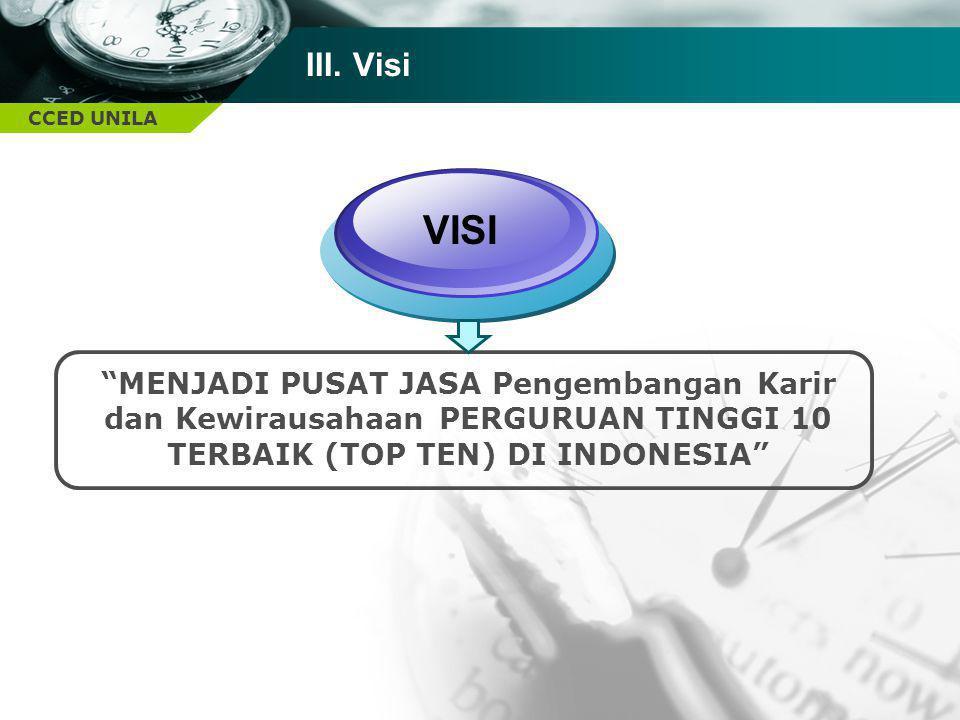 """CCED UNILA III. Visi VISI """"MENJADI PUSAT JASA Pengembangan Karir dan Kewirausahaan PERGURUAN TINGGI 10 TERBAIK (TOP TEN) DI INDONESIA"""""""