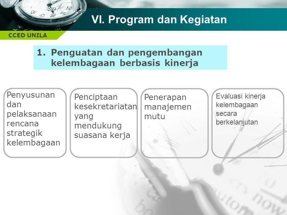 CCED UNILA TEXT Penyusunan dan pelaksanaan rencana strategik kelembagaan Penerapan manajemen mutu 1.Penguatan dan pengembangan kelembagaan berbasis ki