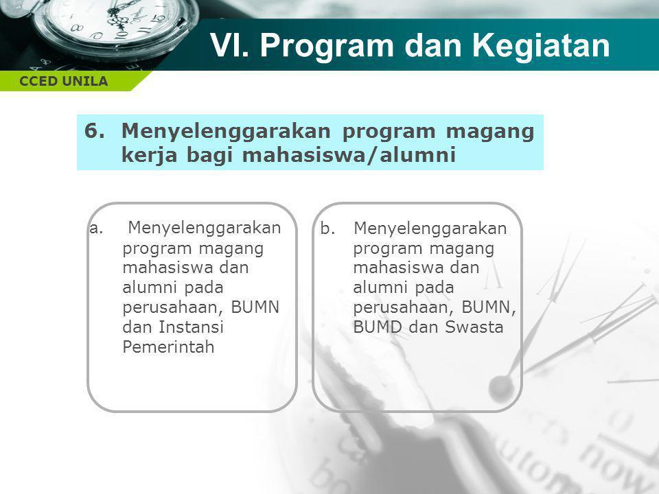 CCED UNILA TEXT 6.Menyelenggarakan program magang kerja bagi mahasiswa/alumni VI. Program dan Kegiatan a. Menyelenggarakan program magang mahasiswa da