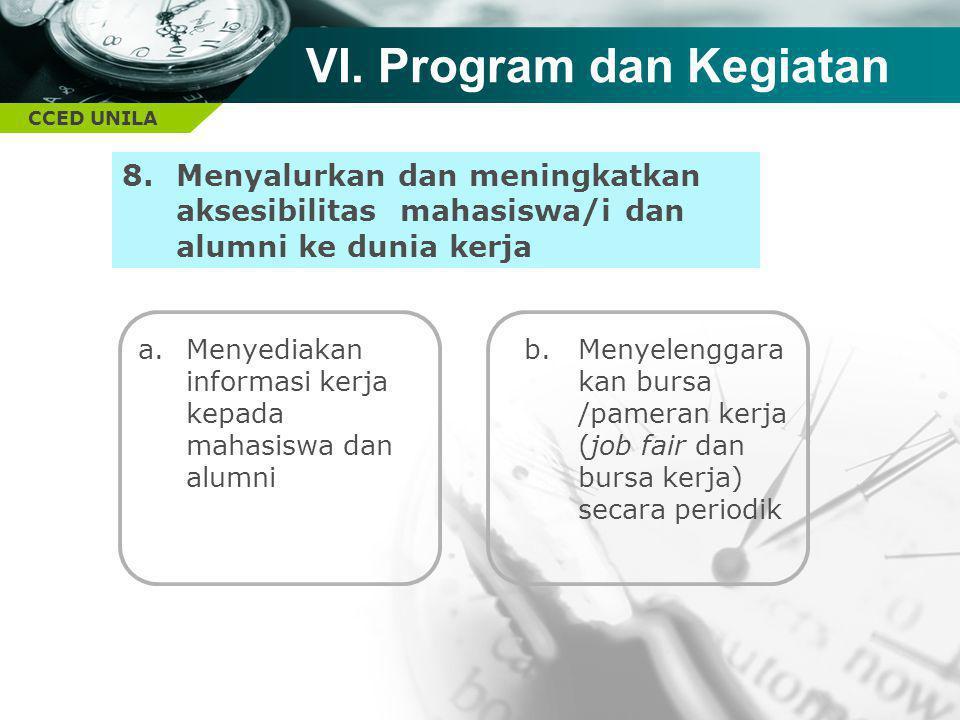 CCED UNILA TEXT 8.Menyalurkan dan meningkatkan aksesibilitas mahasiswa/i dan alumni ke dunia kerja VI. Program dan Kegiatan a.Menyediakan informasi ke