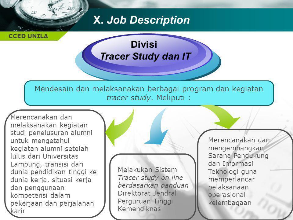 CCED UNILA X. Job Description Divisi Tracer Study dan IT Melakukan Sistem Tracer study on line berdasarkan panduan Direktorat Jendral Perguruan Tinggi