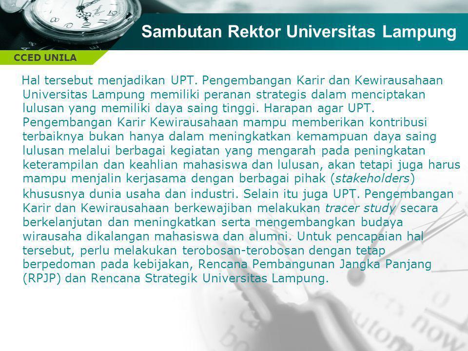 CCED UNILA Hal tersebut menjadikan UPT. Pengembangan Karir dan Kewirausahaan Universitas Lampung memiliki peranan strategis dalam menciptakan lulusan