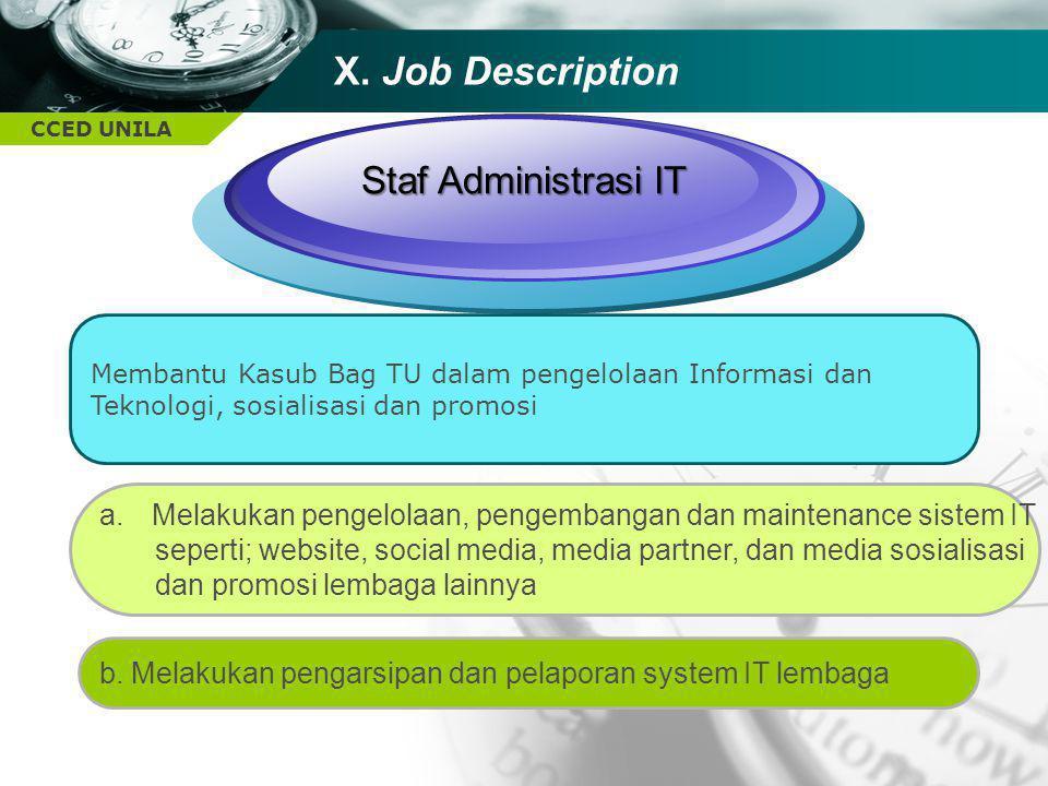 CCED UNILA TEXT Staf Administrasi IT Membantu Kasub Bag TU dalam pengelolaan Informasi dan Teknologi, sosialisasi dan promosi b. Melakukan pengarsipan