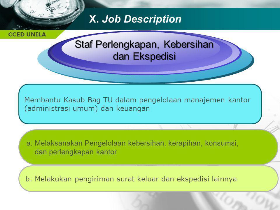 CCED UNILA TEXT Staf Perlengkapan, Kebersihan dan Ekspedisi Membantu Kasub Bag TU dalam pengelolaan manajemen kantor (administrasi umum) dan keuangan