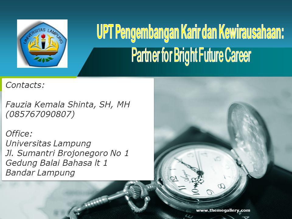 CCED UNILA www.themegallery.com Contacts: Fauzia Kemala Shinta, SH, MH (085767090807) Office: Universitas Lampung Jl. Sumantri Brojonegoro No 1 Gedung