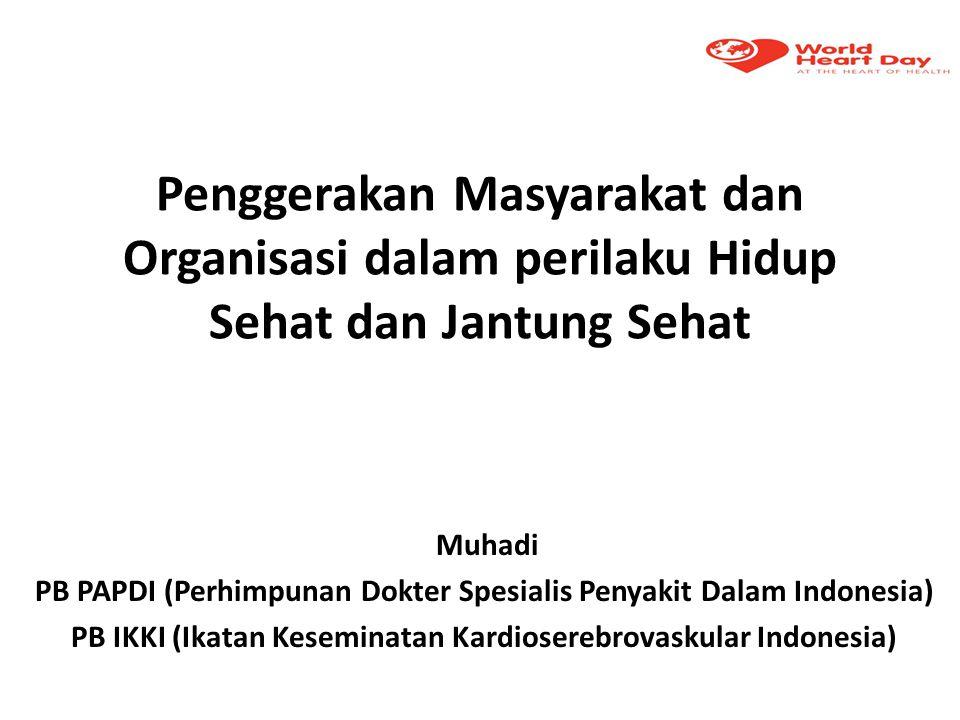 Penggerakan Masyarakat dan Organisasi dalam perilaku Hidup Sehat dan Jantung Sehat Muhadi PB PAPDI (Perhimpunan Dokter Spesialis Penyakit Dalam Indone