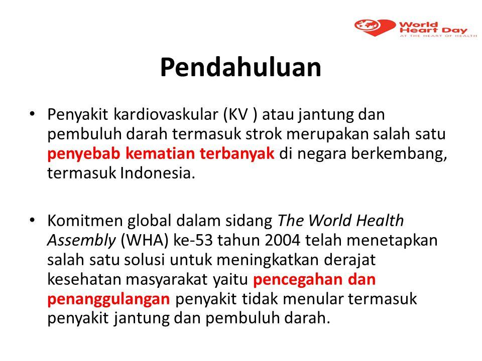 Pendahuluan Penyakit kardiovaskular (KV ) atau jantung dan pembuluh darah termasuk strok merupakan salah satu penyebab kematian terbanyak di negara be