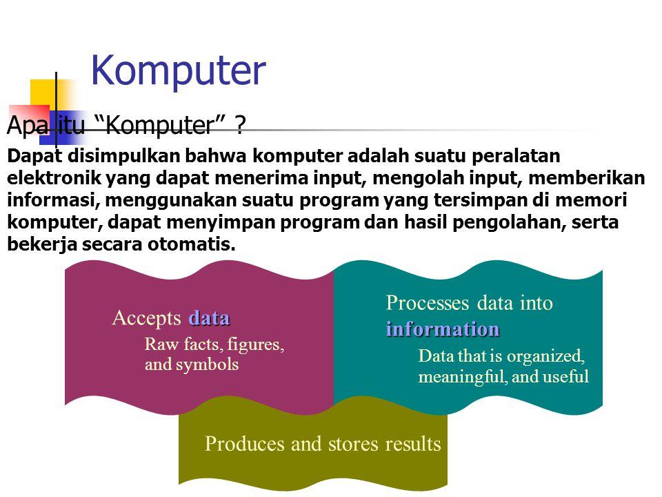 "Komputer Apa itu ""Komputer"" ? Dapat disimpulkan bahwa komputer adalah suatu peralatan elektronik yang dapat menerima input, mengolah input, memberikan"