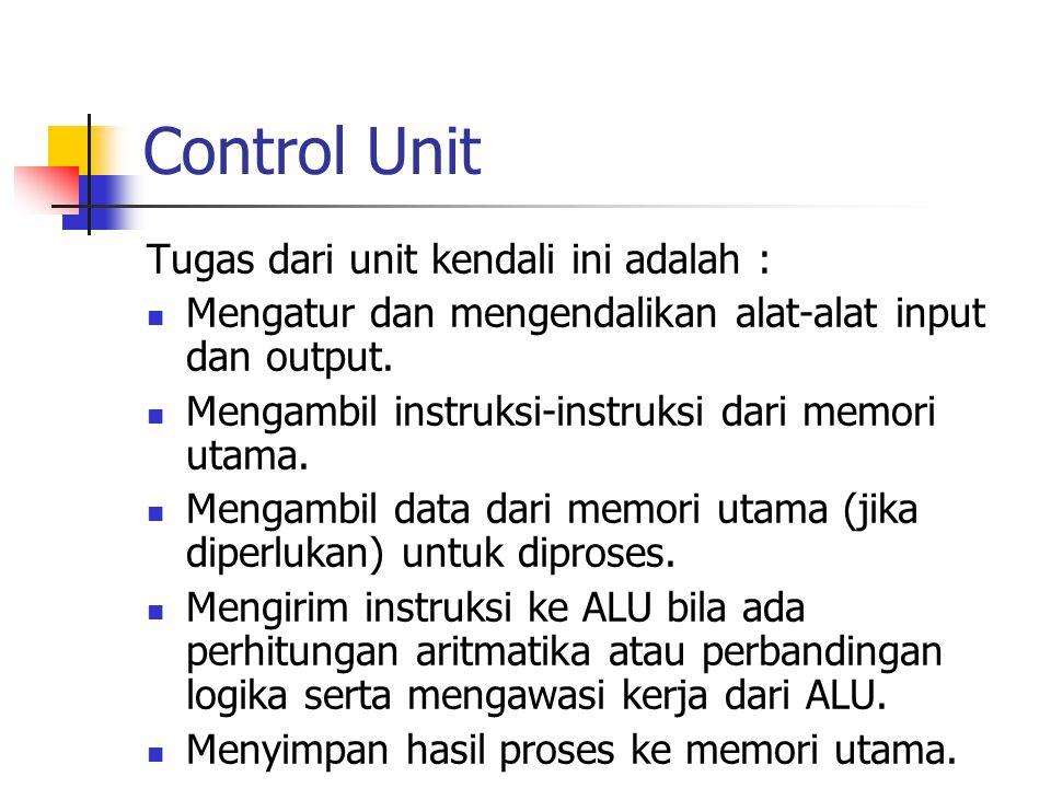 Control Unit Tugas dari unit kendali ini adalah : Mengatur dan mengendalikan alat-alat input dan output. Mengambil instruksi-instruksi dari memori uta