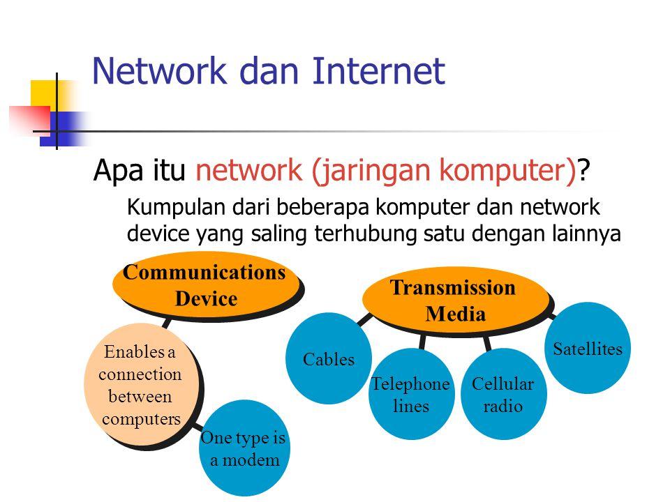 Network dan Internet Apa itu network (jaringan komputer)? Kumpulan dari beberapa komputer dan network device yang saling terhubung satu dengan lainnya