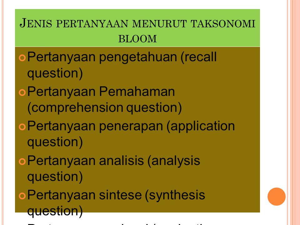 J ENIS PERTANYAAN MENURUT TAKSONOMI BLOOM Pertanyaan pengetahuan (recall question) Pertanyaan Pemahaman (comprehension question) Pertanyaan penerapan
