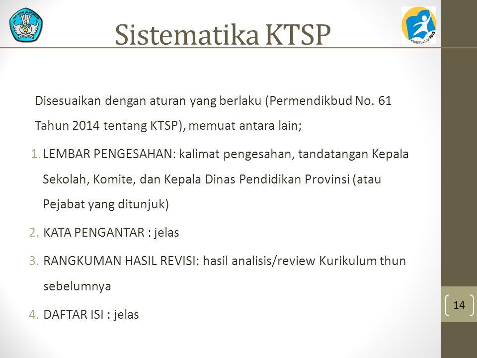Sistematika KTSP Disesuaikan dengan aturan yang berlaku (Permendikbud No. 61 Tahun 2014 tentang KTSP), memuat antara lain; 1.LEMBAR PENGESAHAN: kalima