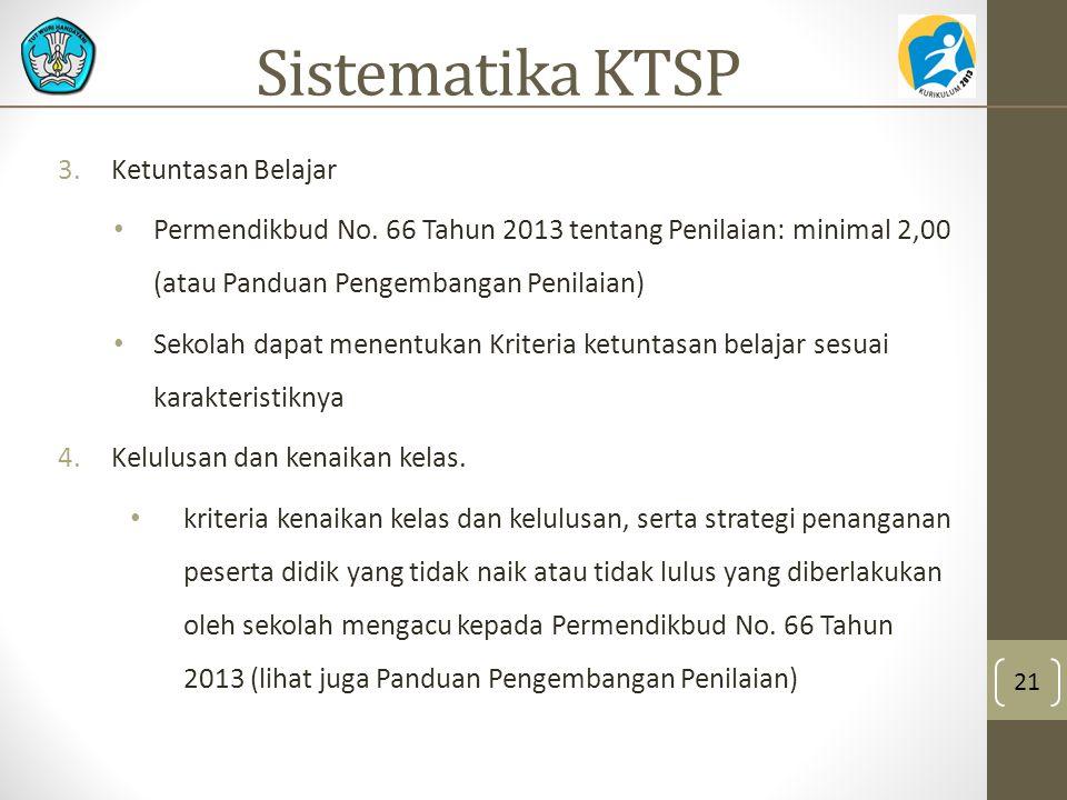 3.Ketuntasan Belajar Permendikbud No. 66 Tahun 2013 tentang Penilaian: minimal 2,00 (atau Panduan Pengembangan Penilaian) Sekolah dapat menentukan Kri