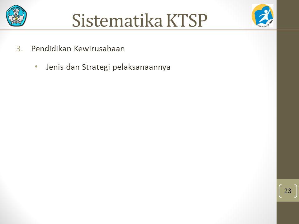 3.Pendidikan Kewirusahaan Jenis dan Strategi pelaksanaannya 23 Sistematika KTSP