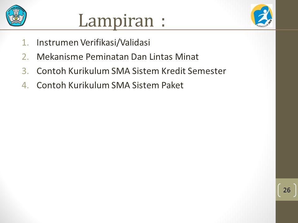 Lampiran : 1.Instrumen Verifikasi/Validasi 2.Mekanisme Peminatan Dan Lintas Minat 3.Contoh Kurikulum SMA Sistem Kredit Semester 4.Contoh Kurikulum SMA Sistem Paket 26