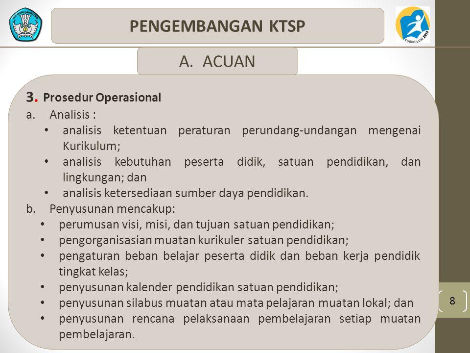 8 PENGEMBANGAN KTSP 3. Prosedur Operasional a.Analisis : analisis ketentuan peraturan perundang-undangan mengenai Kurikulum; analisis kebutuhan pesert