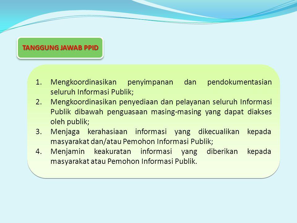 1.Mengkoordinasikan penyimpanan dan pendokumentasian seluruh Informasi Publik; 2.Mengkoordinasikan penyediaan dan pelayanan seluruh Informasi Publik dibawah penguasaan masing-masing yang dapat diakses oleh publik; 3.Menjaga kerahasiaan informasi yang dikecualikan kepada masyarakat dan/atau Pemohon Informasi Publik; 4.Menjamin keakuratan informasi yang diberikan kepada masyarakat atau Pemohon Informasi Publik.