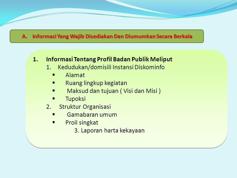 1.Informasi Tentang Profil Badan Publik Meliput 1.Kedudukan/domisili Instansi Diskominfo  Alamat  Ruang lingkup kegiatan  Maksud dan tujuan ( Visi