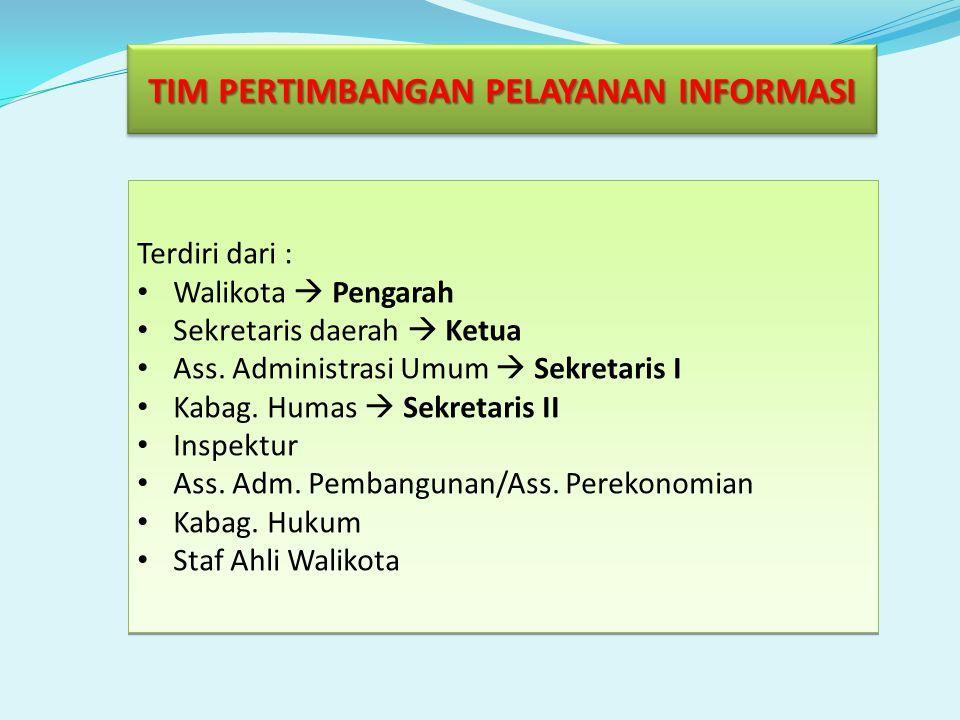 TIM PERTIMBANGAN PELAYANAN INFORMASI Terdiri dari : Walikota  Pengarah Sekretaris daerah  Ketua Ass.