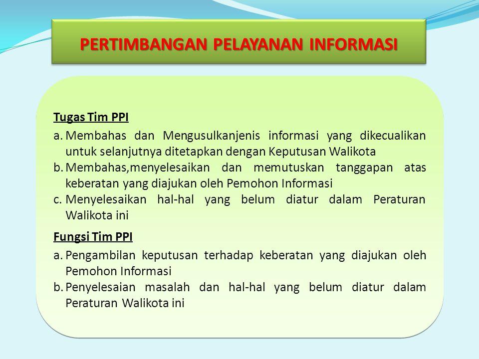 Tugas Tim PPI a.Membahas dan Mengusulkanjenis informasi yang dikecualikan untuk selanjutnya ditetapkan dengan Keputusan Walikota b.Membahas,menyelesai