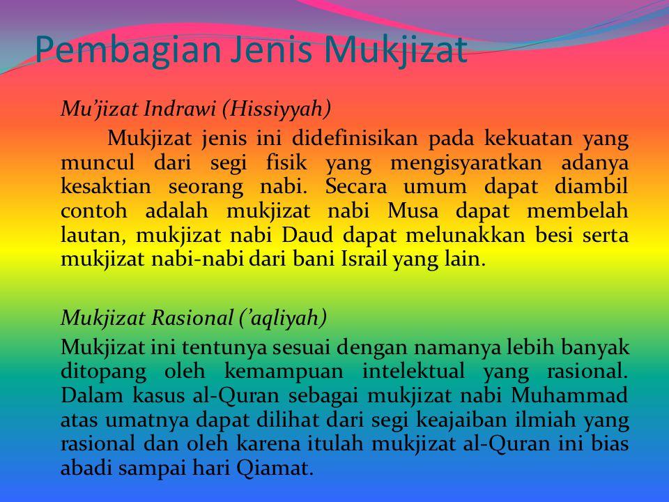 Pembagian Jenis Mukjizat Mu'jizat Indrawi (Hissiyyah) Mukjizat jenis ini didefinisikan pada kekuatan yang muncul dari segi fisik yang mengisyaratkan a
