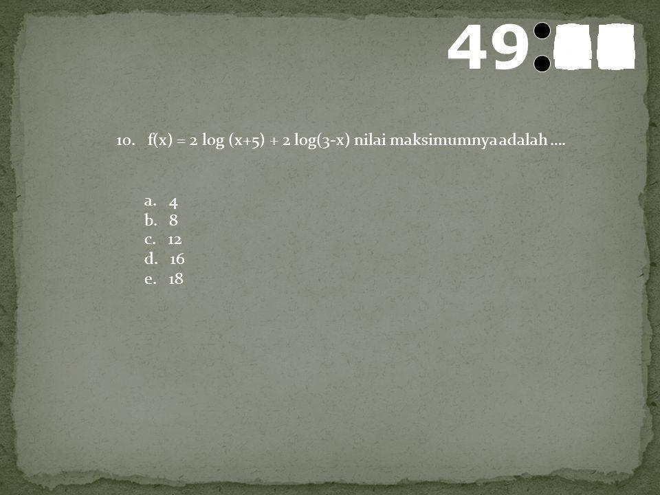 50595857565554535251504948474645444342414039383736353433323130292827262524232221201918171615141312111009080706050403020100 9. Jika per samaan logx2 –