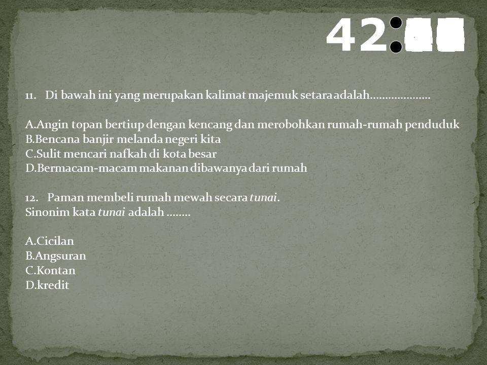 43 595857565554535251504948474645444342414039383736353433323130292827262524232221201918171615141312111009080706050403020100 9. Erin bertopi lebar yang
