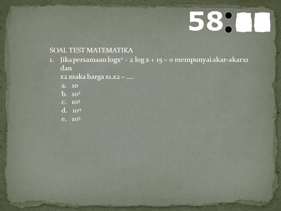 59 5857565554535251504948474645444342414039383736353433323130292827262524232221201918171615141312111009080706050403020100 SOAL TEST Mata Pelajaran : M