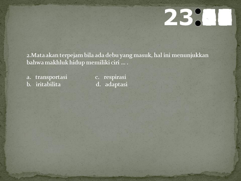 24 595857565554535251504948474645444342414039383736353433323130292827262524232221201918171615141312111009080706050403020100 Soal TEST BIOLOGI 1.Perhat
