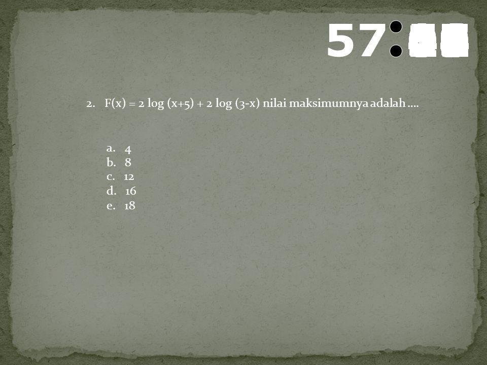 58 595857565554535251504948474645444342414039383736353433323130292827262524232221201918171615141312111009080706050403020100 1.Jika persamaan logx 2 –
