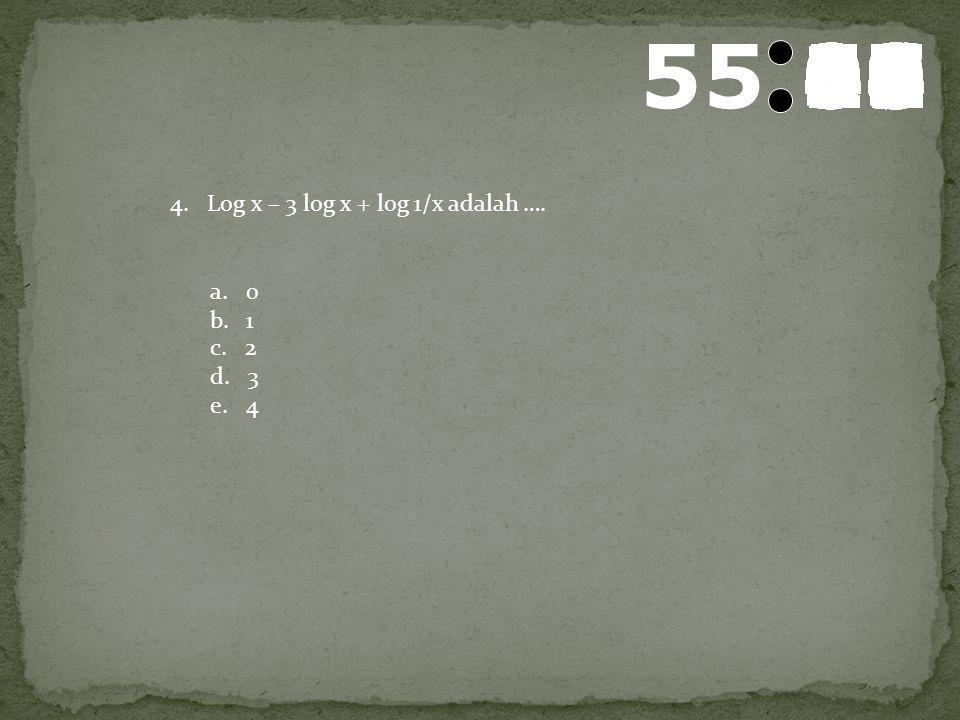 56 595857565554535251504948474645444342414039383736353433323130292827262524232221201918171615141312111009080706050403020100 3. Log (b2-a2) dapat ditul