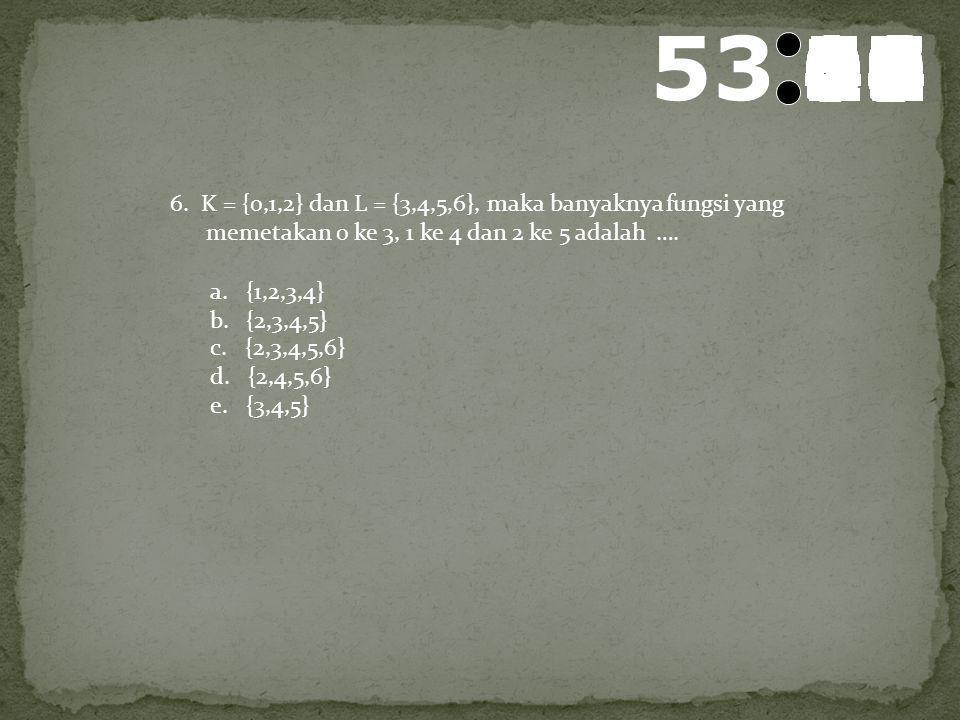 54 595857565554535251504948474645444342414039383736353433323130292827262524232221201918171615141312111009080706050403020100 5. Banyaknya pemetaan yang