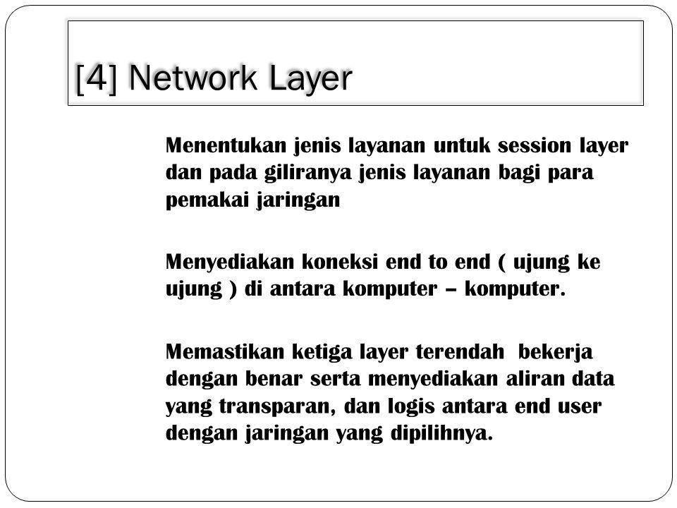 [4] Network Layer Menentukan jenis layanan untuk session layer dan pada giliranya jenis layanan bagi para pemakai jaringan Menyediakan koneksi end to end ( ujung ke ujung ) di antara komputer – komputer.