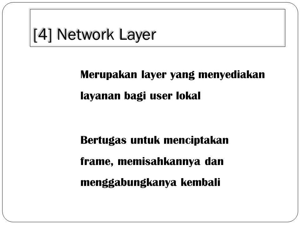 [4] Network Layer Merupakan layer yang menyediakan layanan bagi user lokal Bertugas untuk menciptakan frame, memisahkannya dan menggabungkanya kembali