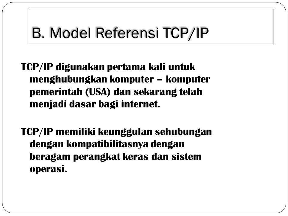 B. Model Referensi TCP/IP TCP/IP digunakan pertama kali untuk menghubungkan komputer – komputer pemerintah (USA) dan sekarang telah menjadi dasar bagi