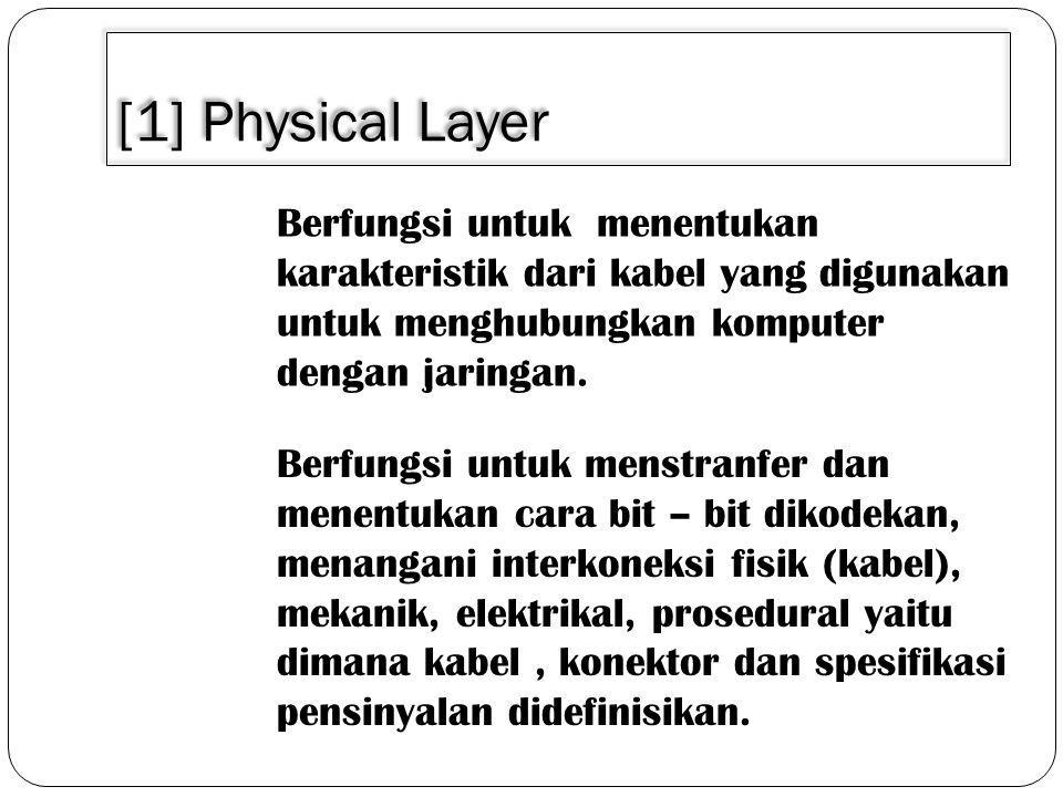 [1] Physical Layer Berfungsi untuk menentukan karakteristik dari kabel yang digunakan untuk menghubungkan komputer dengan jaringan.