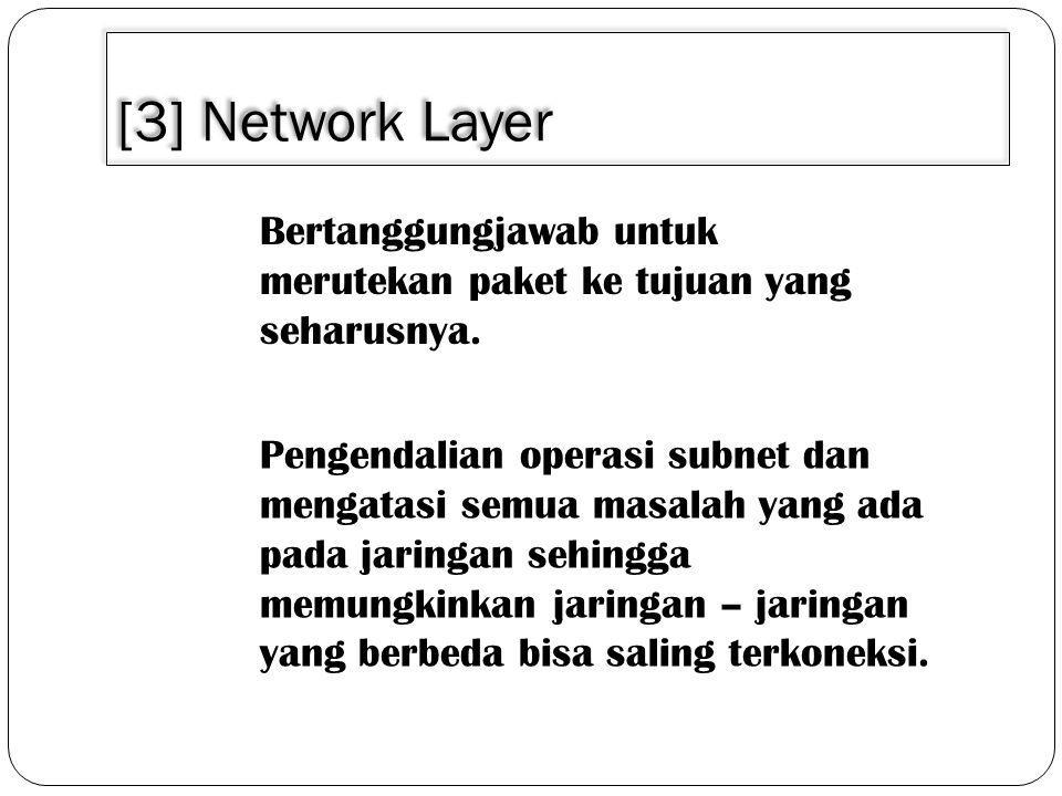 [3] Network Layer Bertanggungjawab untuk merutekan paket ke tujuan yang seharusnya.