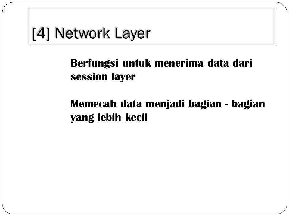 [4] Network Layer Berfungsi untuk menerima data dari session layer Memecah data menjadi bagian - bagian yang lebih kecil