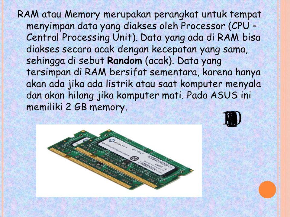 RAM atau Memory merupakan perangkat untuk tempat menyimpan data yang diakses oleh Processor (CPU – Central Processing Unit).