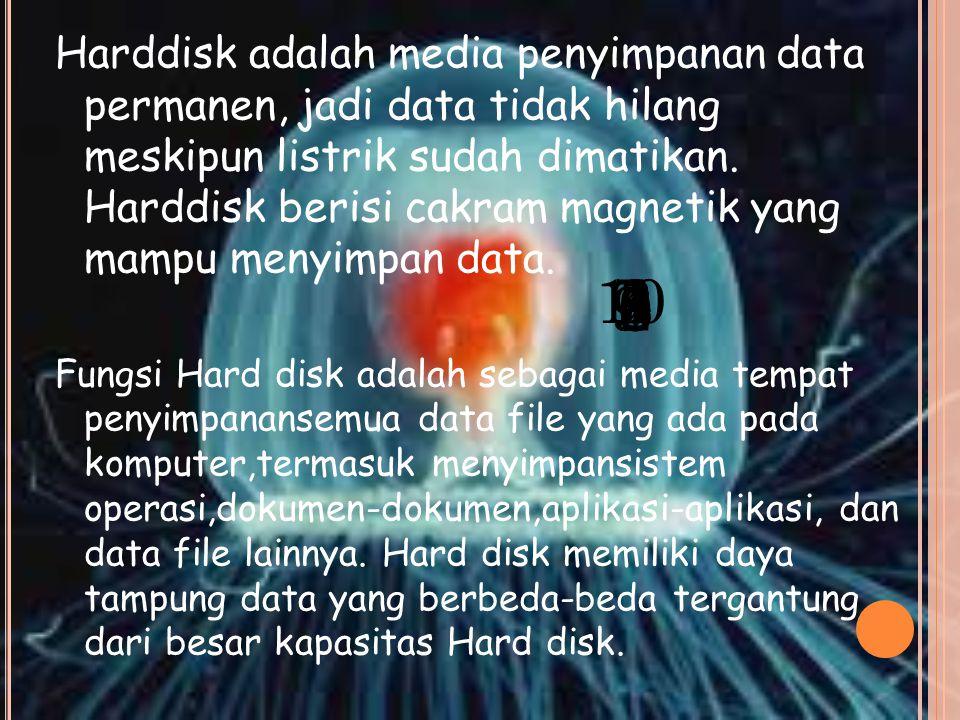Harddisk adalah media penyimpanan data permanen, jadi data tidak hilang meskipun listrik sudah dimatikan.