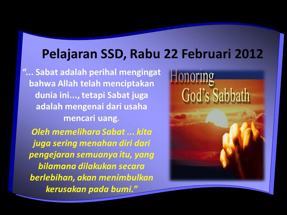 Pelajaran SSD, Rabu 22 Februari 2012 ...