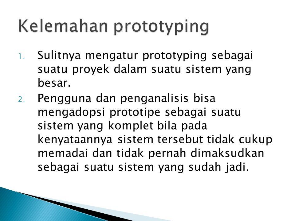 1. Sulitnya mengatur prototyping sebagai suatu proyek dalam suatu sistem yang besar. 2. Pengguna dan penganalisis bisa mengadopsi prototipe sebagai su