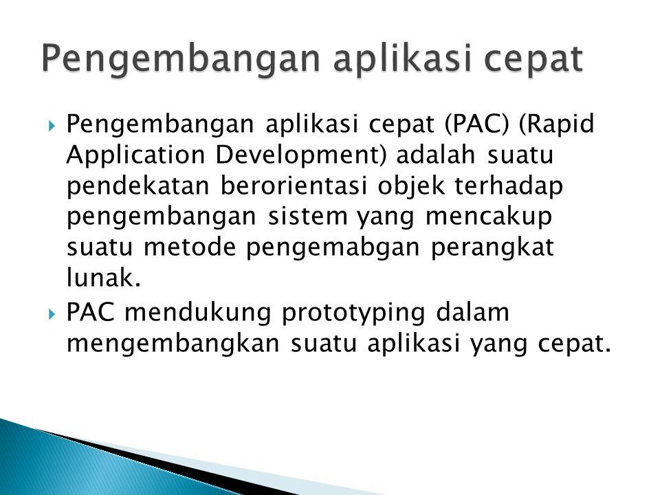  Pengembangan aplikasi cepat (PAC) (Rapid Application Development) adalah suatu pendekatan berorientasi objek terhadap pengembangan sistem yang menca