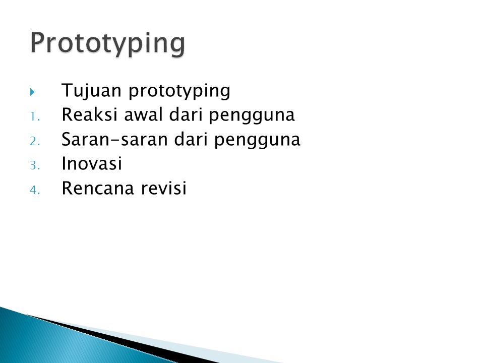  Tujuan prototyping 1. Reaksi awal dari pengguna 2. Saran-saran dari pengguna 3. Inovasi 4. Rencana revisi