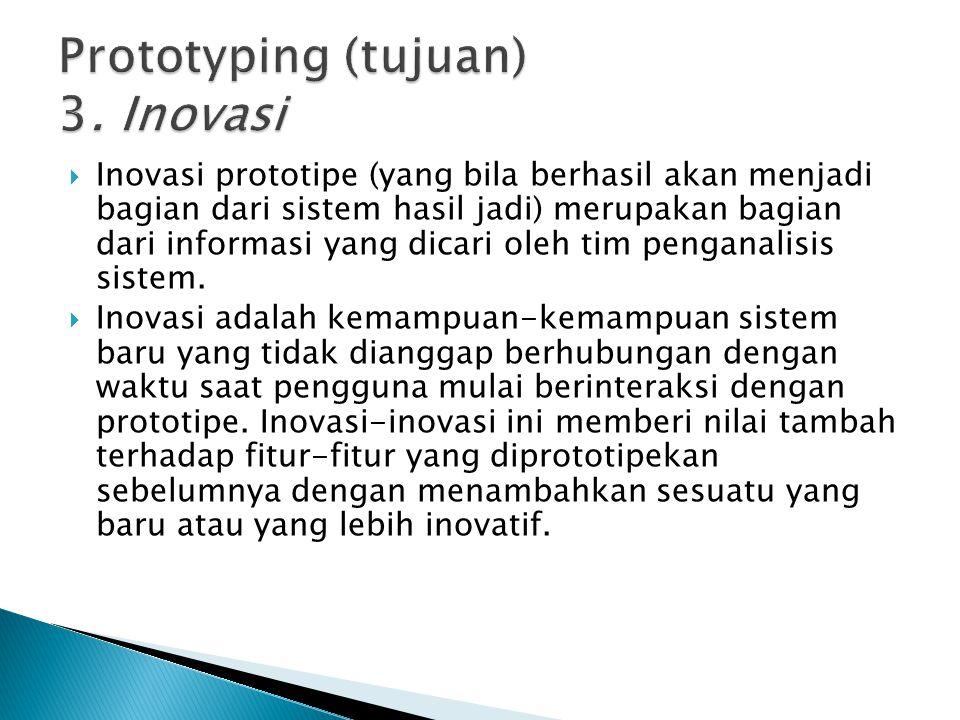  Inovasi prototipe (yang bila berhasil akan menjadi bagian dari sistem hasil jadi) merupakan bagian dari informasi yang dicari oleh tim penganalisis