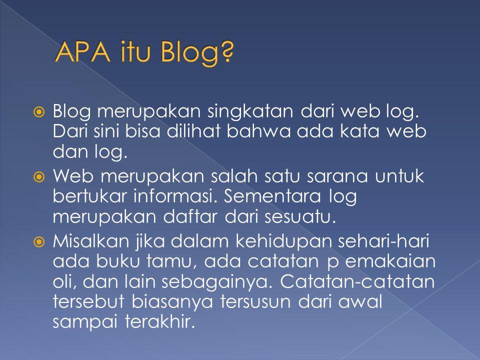  Blog merupakan singkatan dari web log. Dari sini bisa dilihat bahwa ada kata web dan log.