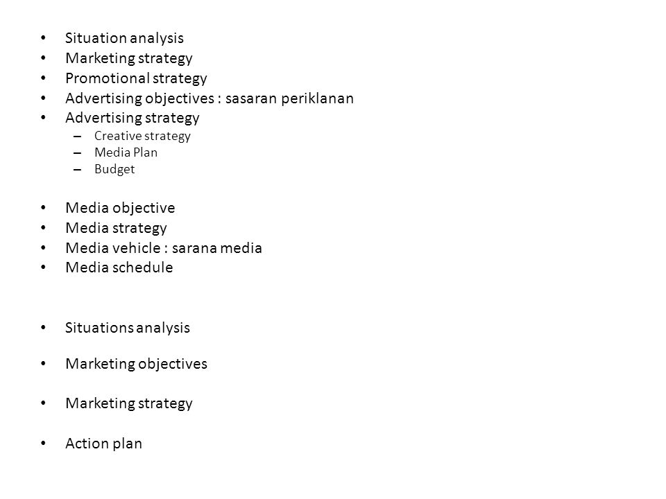 Situation analysis Marketing strategy Promotional strategy Advertising objectives : sasaran periklanan Advertising strategy – Creative strategy – Medi
