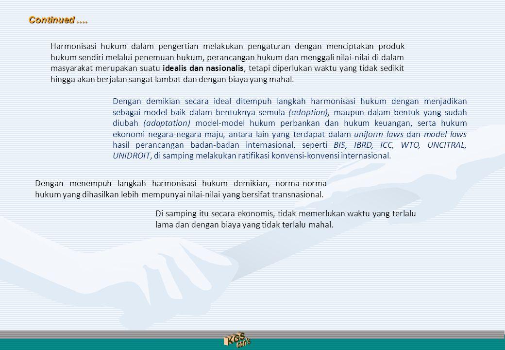 SISTEM HUKUM NASIONAL (Existing Legal System): SUBSTANSI HUKUM (Legal Substance) (tatanan hukum eksternal yaitu peraturan perundang-undangan, hukum tidak tertulis termasuk hukum adat dan yurisprudensi, serta tatanan hukum internal yaitu asas hukum yang melandasinya) STRUKTUR HUKUM (Legal Structure) (berbagai badan institusional atau kelembagaan publik dengan para pejabatnya) BUDAYA HUKUM (Legal Culture) (mencakup sikap dan perilaku para pejabat dan warga masyarakat berkenaan dengan unsur-unsur yang lain dalam proses penyelenggaraan kehidupan bermasyarakat) Langkah Sistemik Harmonisasi Hukum Langkah Sistemik Harmonisasi Hukum Realisasi Harmonisasi Hukum .